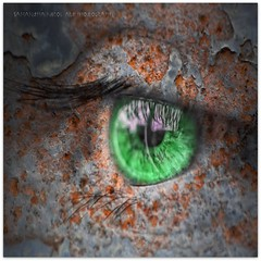 The Green Eyed Monster! (Samantha Nicol Art Photography) Tags: macro green eye art texture monster photoshop square nikon peeling paint lashes rusty samantha jealousy nicol