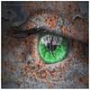The Green Eyed Monster! (Samantha Nicol Art Photography) Tags: macro green eye art texture monster photoshop square nikon peeling paint lashes rusty samantha jealousy nicol