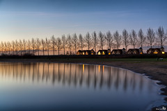 Good Morning (BraCom (Bram)) Tags: longexposure trees house reflection beach netherlands clouds strand sunrise bench twilight bomen nederland wolken huis haringvliet schemering nieuwzeeland middelharnis zuidholland goereeoverflakkee bankje spiegeling zonsopkomst theunforgettablepictures bracom blinkagain