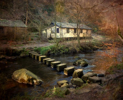 The Stepping Stones (vesna1962) Tags: winter england woodland landscape scenery stream textures hut steppingstones westyorkshire hebdenbridge calderdale gibsonmill memoriesbook artistictreasurechest magicunicornverybest magicunicornmasterpiece cardcastlecrags