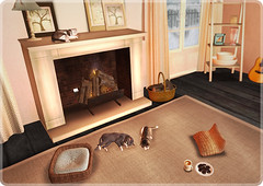Fireplace cats (ARGRACE) Tags: winter snow fireplace sl secondlife argrace interiorcats