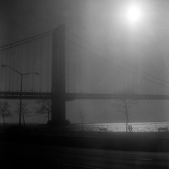 verrazano in the sun (Barry Yanowitz) Tags: nyc newyorkcity bridge blackandwhite bw ny newyork 6x6 film brooklyn mediumformat blackwhite kodak trix bridges 120film d76 scanned brownie filmcamera verrazanobridge bayridge nycity verrazanonarrowsbridge selfdeveloped 718 kodaktrix400 kodakbrowniehawkeyeflash selfdeveloping d76developer drippingsun