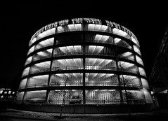 [18|366] Glass garage (Per Spektiv) Tags: bw architecture traffic sweden stockholm cityscapes suburbs project365 2012inphotos