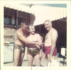 Fun In The Sun (mizaliza) Tags: photo speedos photovintage photoantique bathingsuitsmenetsyetsy delphiniumsbluefound