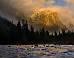 El Cap (M-Kuhns) Tags: california ca pink winter cloud storm color clouds river landscape nationalpark nevada tranquility merced sierra yosemite elcapitan valleyview elcap clearingstorm breakingstorm