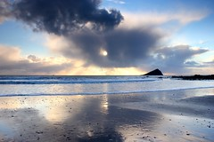 Wembury showerscape (snowyturner) Tags: sky sun beach weather clouds reflections landscape coast pebbles devon rays showers wembury southhams squally mewstone