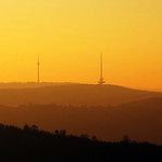 TV Tower and Mountains in November Sunset