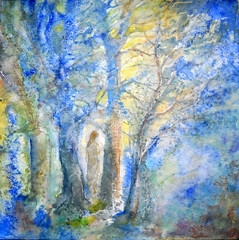 Art: poetic watercolour:   dreams... never end... (Nadia Minic) Tags: blue trees light night forest interesting mood aquarelle dream poetic watercolour wish luxembourg symbolic hopeful nadiaminic nadiaart explore30012012
