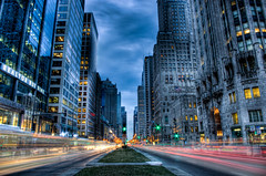 Go Chicago, Go (Brian Koprowski) Tags: longexposure chicago night illinois pentax awesome lighttrails bluehour michiganavenue hdr chicagotribune pentaxk5 briankoprowski bkoprowski