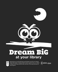 Dream Big Artwork (ben.bibikov) Tags: blackandwhite bw moon monochrome blackbackground illustration night dark library owl outlines vector dreambig readtome