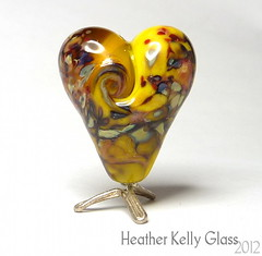 03.02.12_BananaSplitValentine (Heather Kelly Glass) Tags: glass yellow beads banana lampwork myfunnyvalentine cheekycherub frittesting