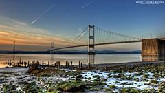 Frosty Severn Bridge (AreKev) Tags: rocks frosty ice mud muddy severnbridge m48 motorway sunset aust bristolchannel severnestuary riversevern southgloucestershire england uk d90 hdr 18105mmf3556g photomatixpro nikon nikond90 tonemapped
