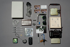 In Some Wade, Shape, Or Form (wadetaylor) Tags: sunglasses keys book bottle coin phone wallet journal knife objects collection headphones pens lenscap businesscard comb important snowglobe sentimental dslite fouryearstrong insomewayshapeorform