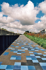 Technicolour Pathway (tatraskoda) Tags: old uk england urban history film 35mm geotagged town photo nikon kodak contest bank lincolnshire explore trent analogue f5 gainsborough pathe northwarren explored kenrockwell ektar100 dn21