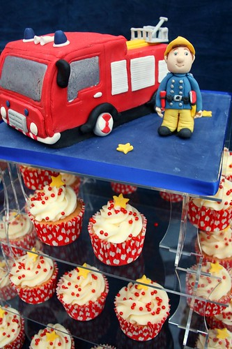 Fireman Sam birthday cake and cupcakes