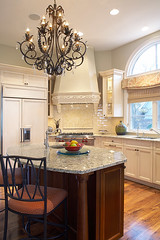 "Kitchen with chandelier over the center island • <a style=""font-size:0.8em;"" href=""http://www.flickr.com/photos/75603962@N08/6853233171/"" target=""_blank"">View on Flickr</a>"