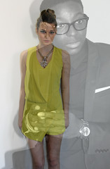 Liminal (CharlotteBolton) Tags: portrait blackandwhite fashion yellow photoshop overlay jewellery fade straightup