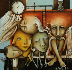 Waiting Room Of Souls (Monica Blatton) Tags: portrait male face mystery modern handmade spirit contemporary surrealism fineart surreal soul handpainted oil oilpaintings oils mystic oilpainting oiloncanvas blatton canvaspainting