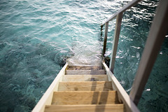 Steps to the sea (Benjamin Griffiths) Tags: ocean wood sunset holiday hot water wooden warm paradise waves indian steps resort splash maldives ras fushi centara
