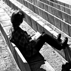Reading at the park (pedrosimoes7) Tags: street people blackandwhite woman portugal reading book blackwhite reader lisbon cc creativecommons livro livre lecteur lendo leitor lisant blackwhitepassionaward caloustegulbenkianpark