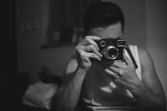 Welcome to the Leica family (TAHUSA) Tags: camera leica portrait blackandwhite bw man digital 35mm hongkong mono f14 steel rim blacknwhite summilux v1 cameraman lightroom m9 3514 version1 prea leicaman m9p portraitwithleica