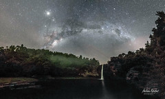 Hunua Falls at Night (hakannedjat) Tags: newzealand stars waterfall sony astro falls auckland ranges astrophotography nz astrology milkyway astonomy hunua milkway a6300 visitauckland sonya6300