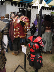 Two of Stronghold Leather's Goods (Robb Wilson) Tags: renaissance irwindale renaissancefaire 2016renaissancepleasurefaire strongholdleather leathergoods leather clothing leatherclothing leatherarmor leatherbreastplates freephotos