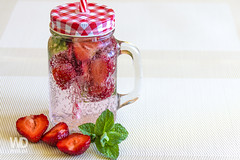 Refreshing strawberry drink (WDnet) Tags: red summer food white cold green ice water glass up closeup fruit vintage leaf strawberry close natural drink sweet background beverage mint nobody fresh refreshing isolated refreshment d3100