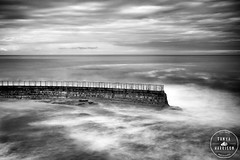 La Jolla Children's Pool Seawall (Tanya Harrison) Tags: longexposure blackandwhite bw water monochrome sandiego lajolla seawall pacificocean childrenspool nd110 fujix100