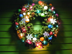 Christmas Lighted Wreath (#BeaslePunk ~ JLBCreatives.com) Tags: christmas red holiday tree green birds pine easter stpatricksday pinecones