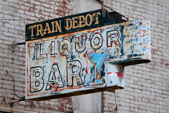 Train Depot Bar (scott_z28) Tags: old urban classic abandoned broken station sign bar mi train vintage lost pub closed neon decay michigan empty gone liquor tavern depot crumbling removed tricities saginaw blighted potterstreet