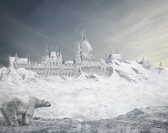 Who left the fridge open? (r3vision) Tags: bear city winter snow cold ice painting frozen hungary post budapest apocalypse parliament if what polar duna parlament scape magyar danube buda pest matte orszghz h tl rakpart r3vision