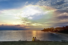 #D3S0494- Nothing can make us apart (crimsonbelt) Tags: sunset sea beach clouds rainbow balikpapan melawai