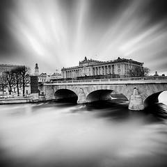 City Of Lost Angels.. (Peter Levi) Tags: bridge sea blackandwhite bw blancoynegro water clouds long exposure sweden stockholm le strmmen riksdagshuset blackwhitephotos bestcapturesaoi elitegalleryaoi