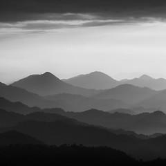 morning mountain layers (StephenCairns) Tags: morning blackandwhite bw japan sunrise 日本 layers 山 gifu 日の出 朝 白黒 岐阜県 canon50d 70200mmf4isusm mountainlayers 50dcanon 本巣市 motosucity