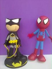 fofucho homem aranha e batman (Fofuchas 3d) Tags: bonecos lembrancinha centrodemesa topodebolo ponteiras fofuchas eva3d