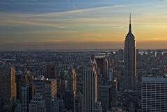view from 'top of the rock', new york (twurdemann) Tags: sunset newyork skyline evening skyscrapers towers midtown empirestatebuilding rockefellercentre topoftherock 30rock