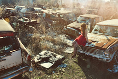 (yyellowbird) Tags: cars abandoned girl vintage illinois studebaker junkyard cari