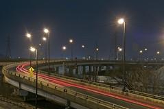eastern avenue off ramp, toronto, ontario (twurdemann) Tags: bridge urban toronto ontario blur night highway industrial viaduct parkway freeway queenstreet donvalley donriver easternavenue