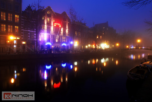 Foggy night in Amsterdam