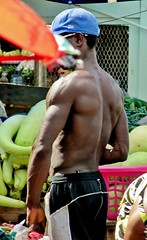 Shady (Legin_2009) Tags: street shirtless people man black male men guy vegetables standing work outside outdoors person persona stand back workers gente market african working guys dude personas cap topless mens males worker caribbean mann produce persons dudes hombre hommes homme hombres mec homens herren люди mecs mannes 男子 男性 אנשים الرجال पुरुषों