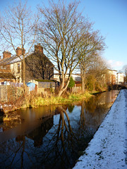 Reflections in the canal. (stokeyouth1) Tags: winter snow reflection tree ice glow terrace panasonic flats stokeontrent shelton staffordshire towpath potteries fivetowns caldoncanal dmctz5 sixtowns knype cauldoncollege stokeyouth1