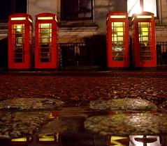 Dark Rainy Streets of Preston (Tony Worrall Foto) Tags: road street city light red urban wet water rain weather dark evening photo call shine northwest image grim telephone north stock lancashire rainy preston boxes lit prestonian 2011tonyworrall