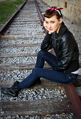Sarah (madynoelphoto) Tags: girl greeneyes redlips bandana suspenders leatherjacket abandonedbuilding railroadtracks combatboots suicideroll
