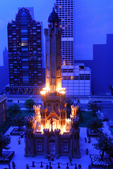 Lego Water Tower, Chicago at night (swimfinfan) Tags: chicago lego watertower legoland