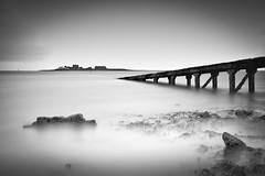 Roa Island (Boyd Hunt) Tags: longexposure sea bw beach island mono coast ramp jetty cumbria barrowonfurness