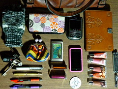 whats in my bag (bookworm.) Tags: pink flowers brown cute girl look leather leatherman pen vintage bag keys skeleton fire mirror interesting coin key ipod shine phone blackberry notes display little personal wallet girly stripes details touch knit cell things case story your gloves card purse credit lucky stuff lip gloss g2 inside accessories swarovski lipstick pens items fingernail gadgets oberon clipper bold mittens flavors cases touchscreen fingerless checkbook ebooks debit kindle whats sensastional alice wonderland incipio bakery