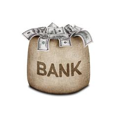 銀行とお金の画像