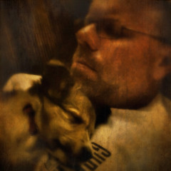Misty and Me (Jack Mallon) Tags: portrait people dog selfportrait animals puppy square grunge squareformat photocopier dynamiclight photogene stealingshadows iphoneography picgrunger blurfx scratchcam netartii snapseed
