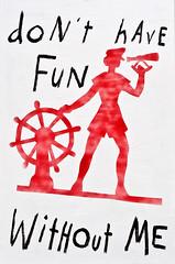 LA-0170-Fun-Without-Me (Morgan Gaynin's Peep Show) Tags: silhouette graphic adams paintings lettering sailor nautical lisaadams april2009 lisaadamsdrawings april2009paintings